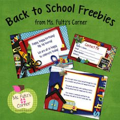 Back to School Freebies: welcome postcard, birthday note, and teacher contact card