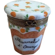 Limoges Rochard Trinket Box Orange Marmelade from elliestreasures on Ruby Lane