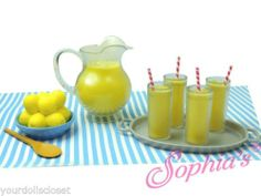 10 pc Lemonade Set Compatible with American Girl Snack Cart Concession Stand