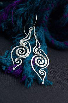 idea, craft, clever design, handmad wire, swirl, silver, handmade wire earrings, jewelri, wire earrings handmade