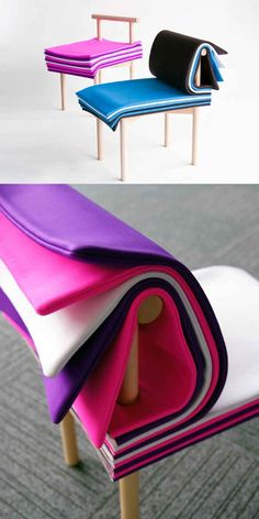 """A chair that consists of """"pages"""" so you can adjust the height and other cool things that you won't believe actually exist."""