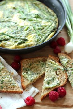 Roasted Asparagus & Goat Cheese Frittata With Herb Butter Baked Toast
