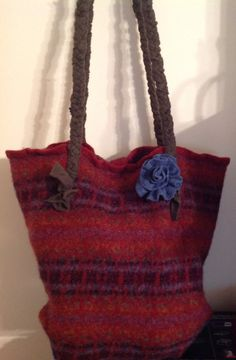 Large knitting project bag felt wool upcycled wool sweater, hand sewn  by mcleodhandcraftgifts,