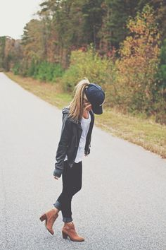 Fall casual... ball cap, booties, pony day outfits, casual baseball cap outfit, ankle boots, leather jackets, casual outfits, baseball caps, shoe, baseball hat outfit, basebal cap