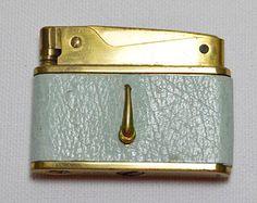 Vintage Blue Cigarette Lighter--lea ther ...