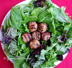 Gourmet Girl Cooks: Easy Garden Fresh Salad Topped w/ Chicken Cranberry Meatballs