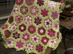 Made with leftover yarn in shades of pink and rose.