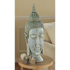 Large Asian Sukhothai Buddha Head Desktop Table Sculpture Statue Bust