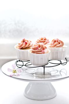 Japanese Cotton Soft Cheesecakes With Cherry Blossom Buttercream And Raspberry Sugar