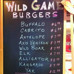 Lunch menu #WildBubbas Wild Game Grill