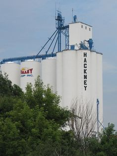 Hackney elevator -    Grain elevator between Winfield and Arkansas City, Kansas.