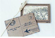 save the date vintage postcard idea