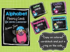 ALPHABET LETTER FLUENCY PRINT AND GO ASSESSMENTS AND CENTERS - Simply run these cards on colored cardstock, hole punch, add a ring and you are ready to go! This resource includes everything you need to assess letter identification, letter sounds, and letter fluency. The assessment cards can also do double duty in an Alphabet center. Three center I CAN cards are included.  Includes: easy to assemble printables to make the alphabet rings. Data recording sheets to track student progress...and more