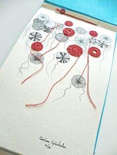 crochet flowers, cats, draw inspir, mix crochet, creativ cat, ink drawings