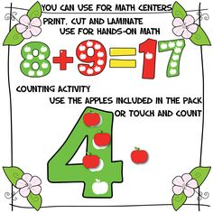 Apple Numbers! + Apples!   Use as clip art to create your own resources or just print and use as Math Centers #mathcenter #clipart