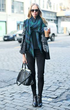 Iced coffee completes any look in NYC #streetstyle winter looks, tartan plaid, black boots, street styles, winter outfits, street style fashion, iced coffee, black jeans, black pants