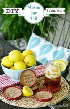 DIY Mason Jar Lid Coasters