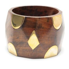 Darla Bangle  Chunky wood bangle with gold details
