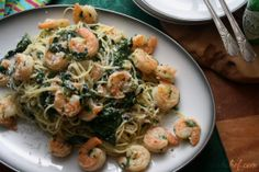 "Scampi Rockefeller: a riff on two classics - Scampi with it's garlicky butter sauce and the absinthe and ""green"" of (Oysters) Rockefeller."
