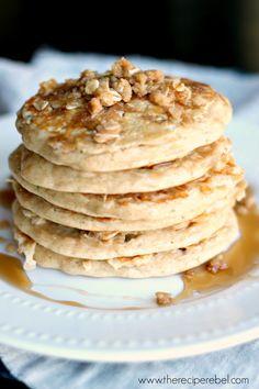 Apple Crisp Pancakes: for breakfast, brunch or dessert! www.thereciperebel.com