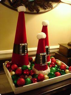 Santa hats made from styrofoam cones - so cute!
