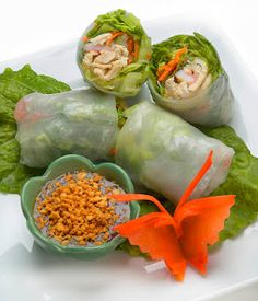 Cucumber and avocado summer rolls