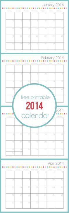 Free printable calendar for 2014 on iheartnaptime.com