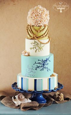 A romantic nautical/beachy wedding cake with hand painted abstract coral and skeleton shell inspired ruffles. I was inspired by all of the rustic yet sophisticated charm of pottery barn magazine beach decor. Made for the Half Baked Cake Blog. TFL!