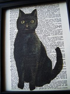 Combining two loves: black cats and vintage books