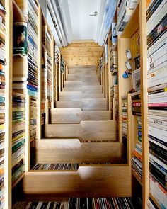 I love the idea of books being incorporated into staircases so much!