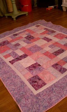Lavender Batik baby quilt -