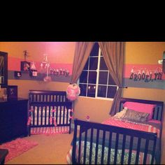 Nursery todler shared room on pinterest shared rooms for Caddy corner bed
