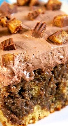 Chocolate Peanut Butter Poke Cake ~ Peanut butter cake, drizzled with chocolate syrup, topped with Reese's and chocolate frosting...  YUM!