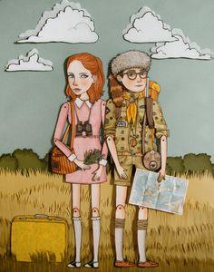 fan art, movie illustration indie, indie films, paper dolls, wes anderson, amy pond, moonris kingdom, moonrise kingdom, birds