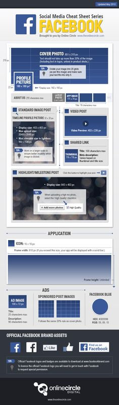 The #Facebook Sizes and Dimensions Cheat Sheet 2013 #sizing #infographic #smm