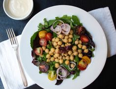 Green Salad with Chickpeas & Lemon-Tahini Dressing (Vegan)