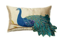 Peacock 12x20 Pillow, Teal on One Kings Lane today