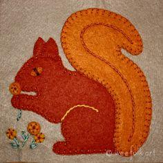 Autumn ~ Squirrel ~ Applique ~ free pattern here ~ http://weefolkart.com/sites/default/files/fall2011/autumn-squirrel-block2.pdf