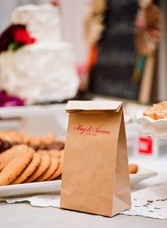 brown paper goodie bag, bake sale dessert buffet | Meg Smith