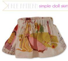 FREE SEWING PATTERN: Simple Doll Skirt by Elf Pop