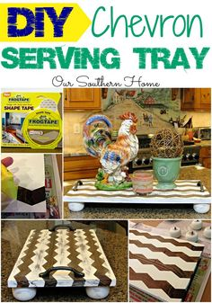 DIY Chevron Wooden Tray via Our Southern Home #AD #ShapeTape