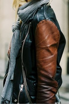 leather jacket 2 tone
