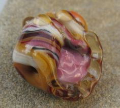 Small sculptural seashell bead SRA lampwork *kitzbitz*