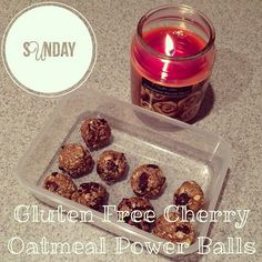 Cherry Oatmeal Power Balls shared by tiu.ashgetsfit! 1 1/2 cups oats, 1/2 cup almond butter, 1/4 cup maple syrup, 1/2 cup dried cherries, 2 tbsp dark chocolate chips, 1/4 tsp sea salt, and 1 scoop chocolate Perfect Fit Protein. Combine all ingredients. Roll into balls and place on parchment paper. Place in refrigerator for 20 minutes.
