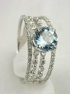 Aquamarine & diamonds   ♥ this! My birthstone....gorgeous!