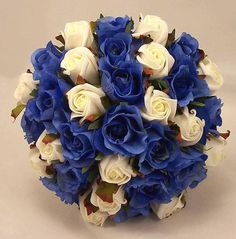 Royal Blue & Ivory Rose Bridal Bouquet