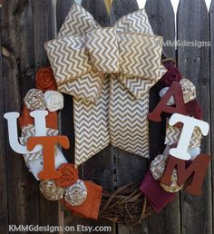 House Divided Football Wreath with Team Letters and Chevron Burlap