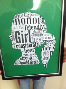 Girl Scout silhouette using words from Promise and Law. Easy and inexpensive to make. See instructions at http://menonbase.mlblogs.com/2013/12/18/girl-scout-silhouette/. girl scout cadette ideas, cub scouts, gift ideas, girl scout cadette crafts, appreciation gifts, girl scout brownie ideas, cadette girl scout ideas, girl scout gift, girl scout crafts ideas