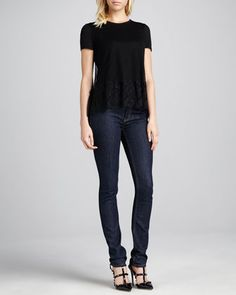 Point d\'Esprit Lace Tee & 5-Pocket Straight-Leg Jeans by RED Valentino at Neiman Marcus.