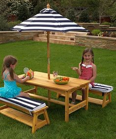 Loving this Navy Stripe 4-Piece Table Set on #zulily! #zulilyfinds